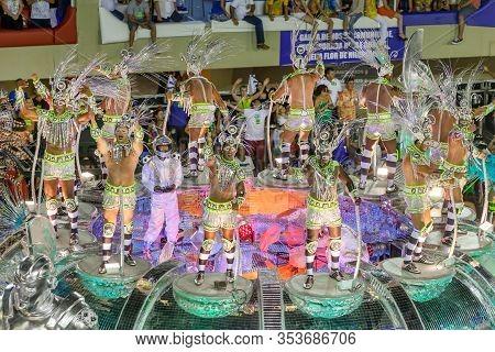 Rio De Janeiro, Brazil - February 16, 2015: Participants In The Carnival Present Their Costumes Duri