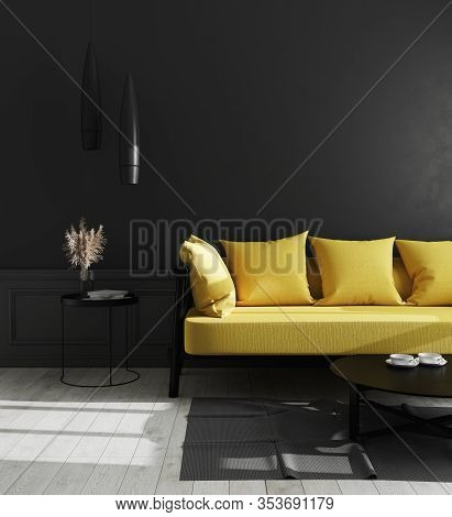 Dark Interior Of Living Room With Black Wall And Bright Yellow Sofa, Modern Luxury Living Room Inter