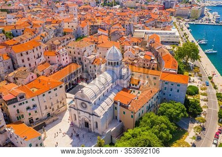 Croatia, Beautiful Old City Of Sibenik, Panoramic View Of The Town Center And Cathedral Of St James