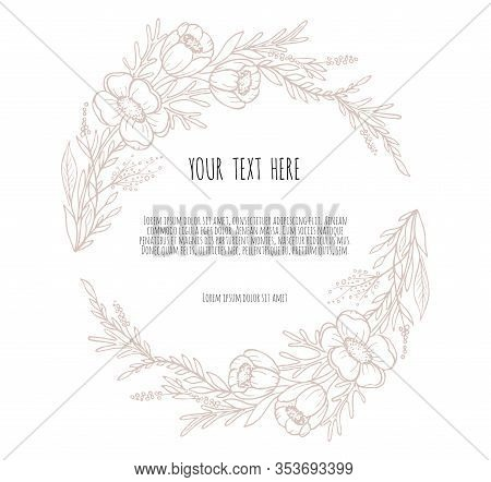 Hand Drawn Decor With Flowers Anemone Leaves And Branches. Vector Nature Illustration In Vintage Sty