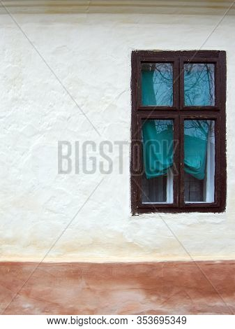 Old Wooden Window On The Wall Of An Old House In Hajducica, Banat, Serbia