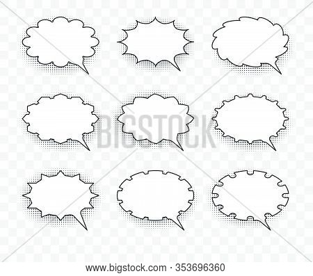 Set Of Nine Vector Talking Bubbles With White Fills And Transparent Background.