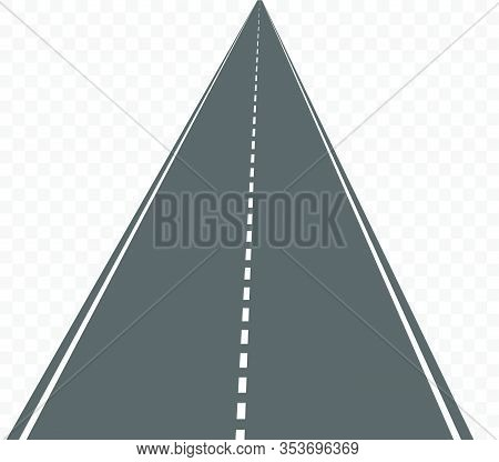 Vector Straight Road Isolated On Transparent Background.