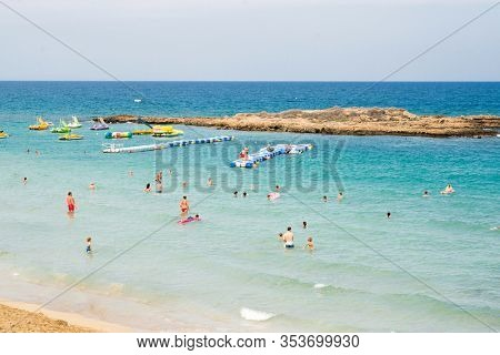 Protaras. Cyprus - October 5, 2018: Fig Tree Bay Beach in Protaras. Cyprus.
