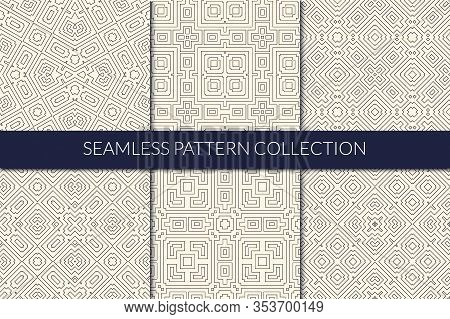 Linear Seamless Pattern Collection. Thin Line Design Geometric Print Kit. Kaleidoscope Mirrored Geo
