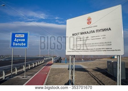 Belgrade, Serbia - December 25, 2014: Roadsign Written In Chinese And Serbian Promoting Serbian Chin