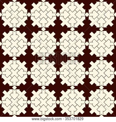 Ancient Seamless Pattern. Oriental Tracery Window Ornament. Arabesque Mosaic Surface Print. Repeated