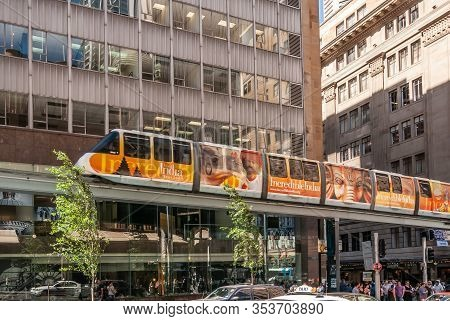 Sydney, Australia - December 11, 2009: Orange-yellow Incredible India Ad Plastered On Wagons Of Skyr