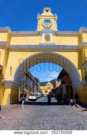 February 17, 2020 In Antigua, Guatemala:  Historical Arch Built By The Spanish Conquistadors During