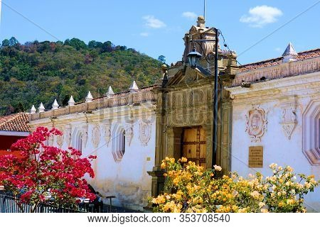 February 25, 2020 In Antigua, Guatemala:  Historical Spanish Colonial Style Presidio Surrounded By F