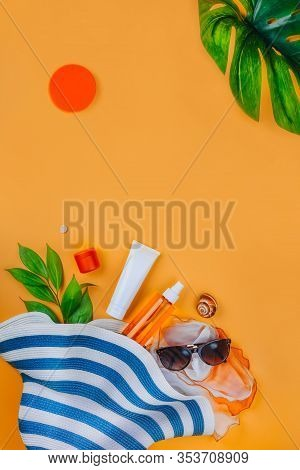 Sunscreen.. Beach Set: Hat, Sun Glasses And Protection Cream Spf Beach Accessories. Summer Travel Va
