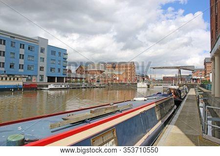 Narrow Boat In Gloucester Docks Canal Basin, England