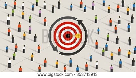 Retargeting Remarketing Crowd Online Advertising Strategy Of Targeting Visitor. Symbol Of Dart Targe