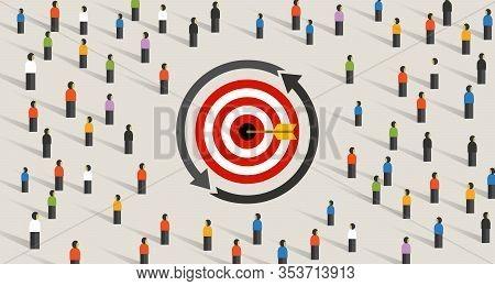 Retargeting Remarketing Crowd Online Advertising Strategy Of Targeting Visitor. Symbol Of Dart Targe