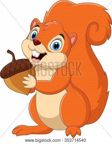 Vector Illustration Of Cartoon Squirrel Holding A Nut