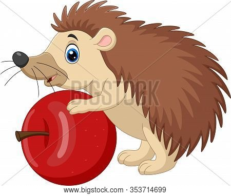 Vector Illustration Of Cartoon Baby Hedgehog Holding Red Apple