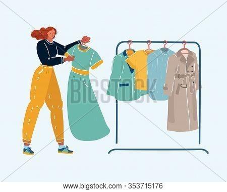 A Girl Chooses A Dress. Woman Chooses A Dress In Shops.