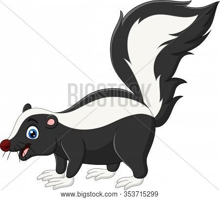 Vector Illustration Of Cartoon Happy Skunk On White Background