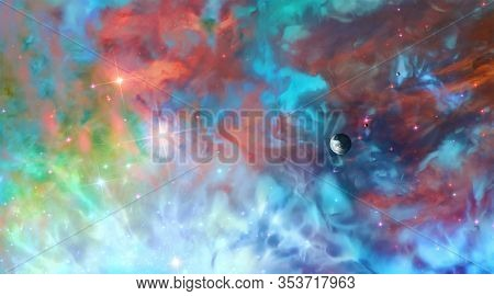 Artistic 3d Illustration Of A Colorful Galactic Nebula