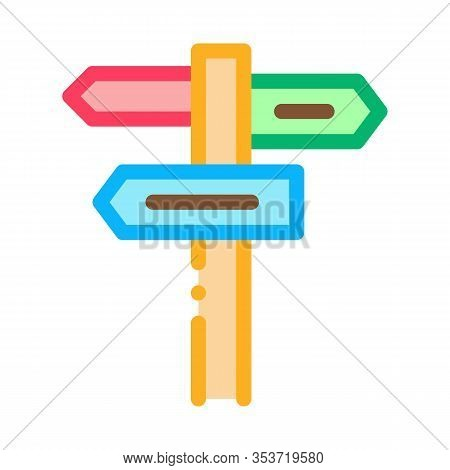 Direction Plates Signpost Icon Thin Line Vector. Wooden Signpost With Arrow Nameplates, Road Guidepo