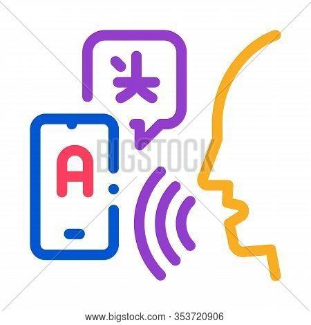 Voice Interpreter Translator Icon Thin Line Vector. Human Speaking And Smartphone Interpreter Transl