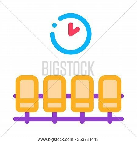 Airport Waiting Room Chairs Icon Thin Line Vector. Airport Wait Flight Seats And Clock Concept Linea