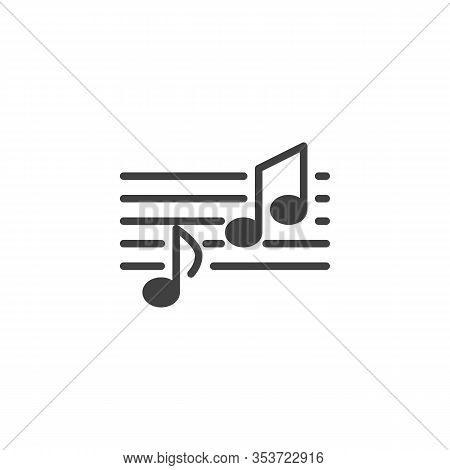 Melody Notes Vector Icon. Musical Melody Filled Flat Sign For Mobile Concept And Web Design. Music N