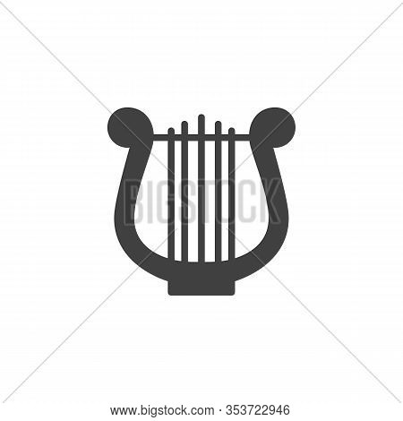 Harp Music Instrument Vector Icon. Filled Flat Sign For Mobile Concept And Web Design. Lyre Music Gl