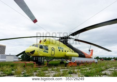 Tyumen, Russia - June 19, 2019: Aircraft Repair Helicopter Utair Engineering Plant. Old Mi-10k Helic