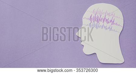 Encephalography Brain Paper Cutout With Purple Ribbon, Epilepsy Awareness, Seizure Disorder, Mental