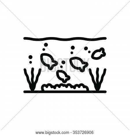 Black Line Icon For Under Below Underneath Beneath Bottom Underwater Fishes Aquarium Aquatic Marine