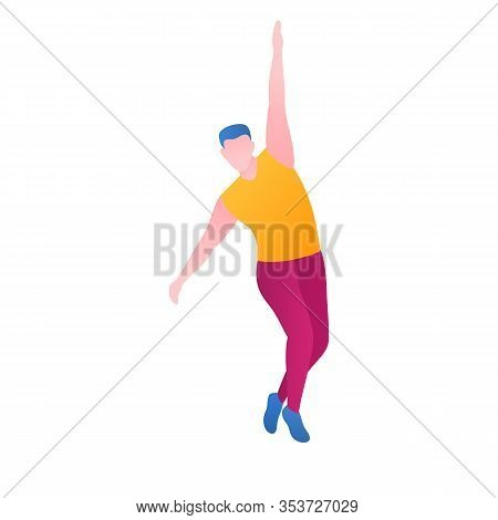A Man Dancing In A Club, Flat Vector Illustration. A Moveable Guy Performs Dance Pa And Movements At