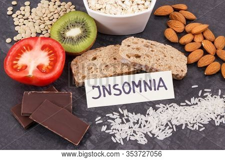 Best Nutritious Natural Food For Healthy Sleep. Concept Of Ingredients Containing Melatonin And Tryp
