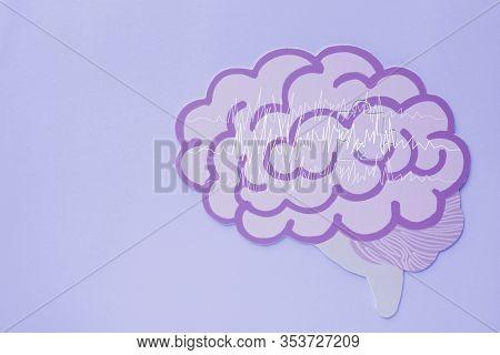 Encephalography Brain Paper Cutout, Epilepsy Awareness, Seizure Disorder, Mental Health Concept