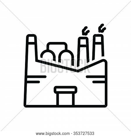 Black Line Icon For Factory Plant Manufacturing Industry Smokestack Chemical Mill Nuclear-plant Refi
