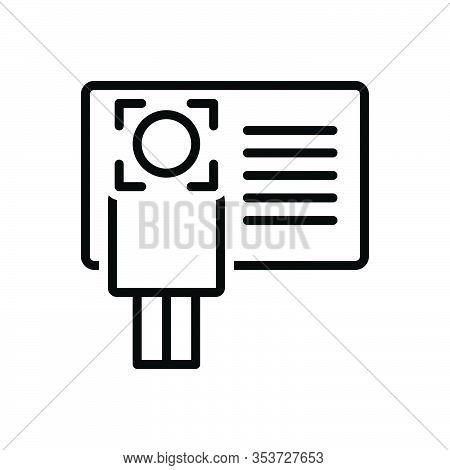 Black Line Icon For Identify Info Recognize Advice Instruction Card Enquiry Information Identificati