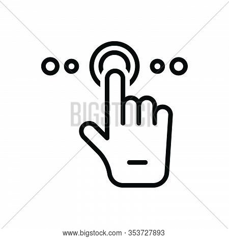 Black Line Icon For Tap Finger Hand Touch Choice Press Drag Fingerprint Interface Technology Gadget