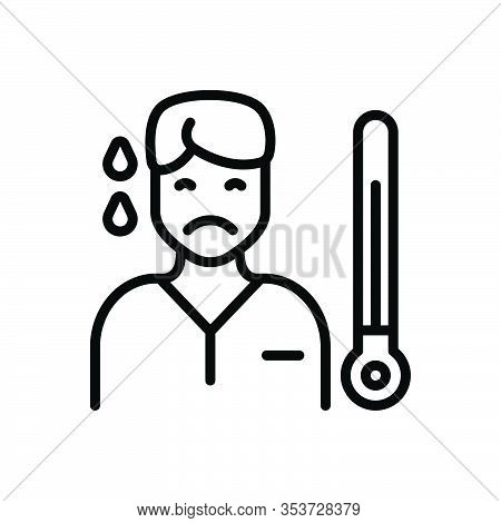 Black Line Icon For Ill Unwell Unhealthy Poorly Morbid Peaky Icteric Thermometer