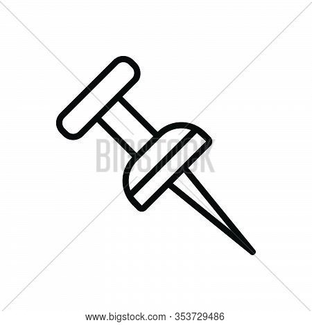Black Line Icon For Location-pin Pushpin Attach Clip Pinned Thumbtack Bulletin Paper-pin Attachment