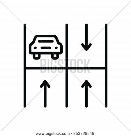 Black Line Icon For Parking Haunt Base Stand Perch Haunt Roadsign Vehicle Place Transport Zone