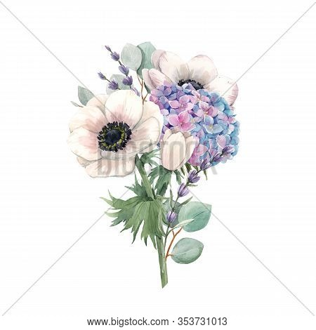 Beautiful Gentle Bouquet With Watercolor Violet Hydrangea Flowers And White Anemones With Lavander.