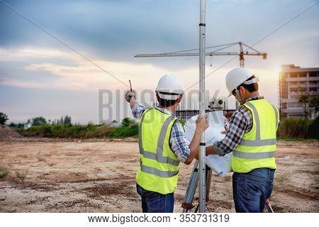 Surveyor Equipment. Surveyor's Telescope At Construction Site, Surveying For Making Contour Plans Ar