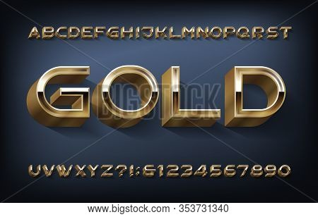 Gold Alphabet Font. 3d Modern Golden Letters And Numbers. Stock Vector Typeset For Your Design.