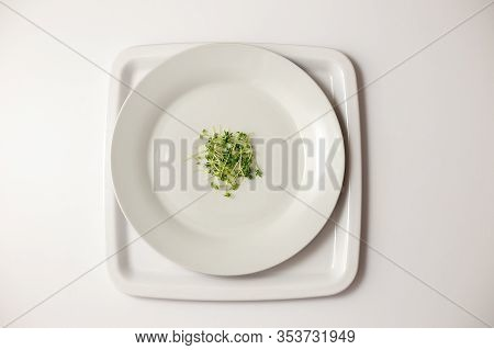 A Small Pile Of Green Watercress On A Round White Plate