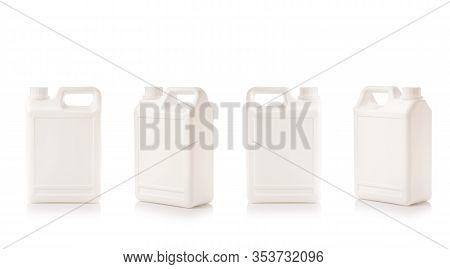 Blank White Plastic Bottle Container. Studio Shot Isolated On White
