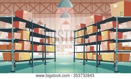 Warehouse Interior With Cardboard Boxes On Metal Racks. Vector Cartoon Illustration Of Empty Storage
