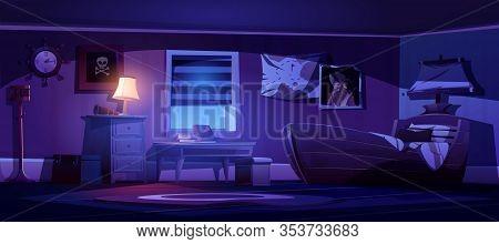 Kids Bedroom Interior In Pirate Thematic At Night. Vector Cartoon Illustration Of Dark Children Room