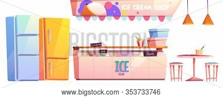 Ice Cream Shop Or Cafe Interior Equipment Set. Fridge Showcase With Variety Of Flavors, Refrigerator