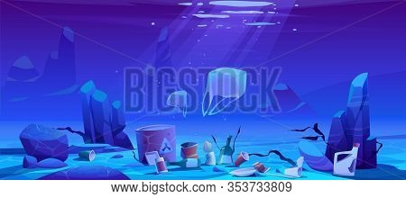 Pollution Sea By Plastic Trash, Garbage Underwater. Vector Cartoon Landscape Of Ocean Bottom With Fl