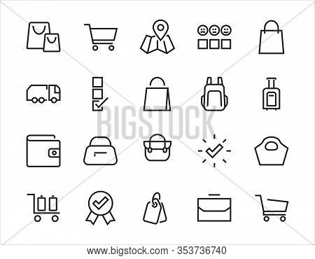A Simple Set Of Bags, Shopping And Travel Icons. Vector Illustration Contains Icons Such As Card, Wa